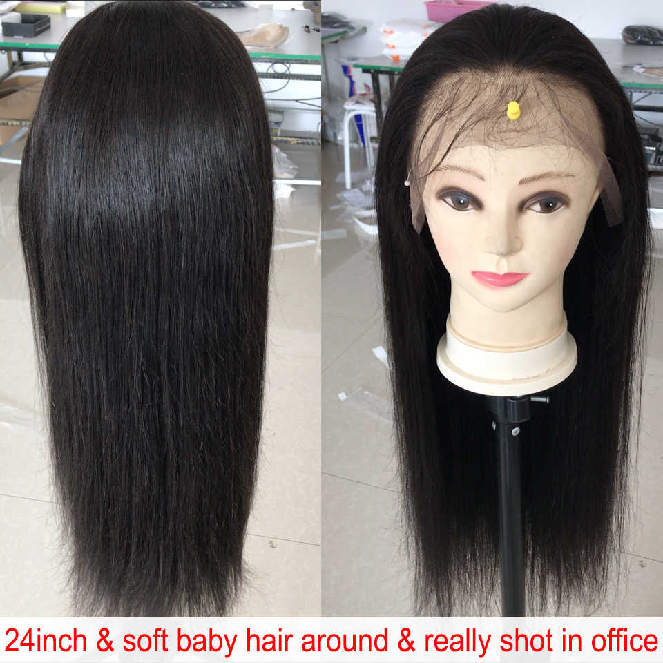 360 Đầm Ren Phía Trước Tóc Giả Thẳng 13X4 Ren Mặt Trước Con Người Tóc Giả Cho Nữ Màu Đen Brasil Tóc Giả Trước Nhổ Với tóc Cho Bé