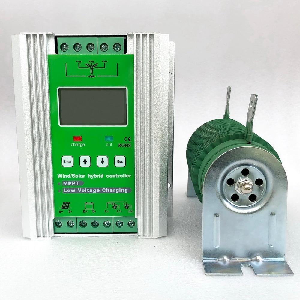 Controlador híbrido eólico solar Boost MPPT carga para 800W 600W 400W turbina aerogeneradora + 600W 400W 300W panel solar