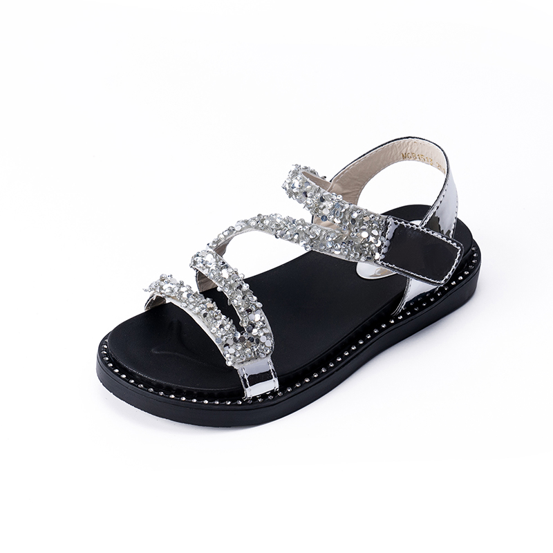 2020 New Fashion Princess Glitter Little Girl Summer Sandals For Kids Shoes Children Beach Sandals 3 4 5 6 7 8 9 10 11 12 Years|Sandals| |  - title=