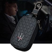 1X Универсальный кожаный чехол для автомобильных ключей для Maserati Quattroporte ghiсот Levante GT, автомобильный логотип, деловой держатель для ключей, ав...