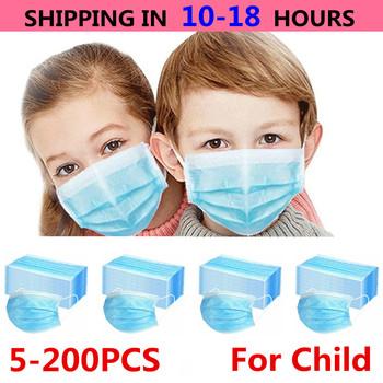 5-200 sztuk dziecko dzieci maska jednorazowe maski na twarz 3 warstwy filtr przeciwkurzowe Flu tkaniny Melt dmuchane ochronne oddychające maski na usta tanie i dobre opinie jiansu CN (pochodzenie) NONE Non-woven fabric + melt-blown fabric + non-woven fabric 3 Layer Ply Filter Mask masks Blue Black White Pink