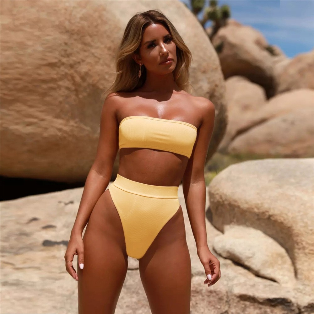 Sexy Swimwear Bikini Beach Thong Bikini 2020 Women Bathing Suits Two Pieces Bathing Suit Off Shoulder
