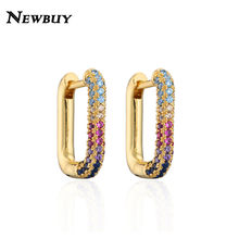 2021 New Fashion Cute Long Square Hoop Earrings For Women Girl Gold Color 14*16mm Wedding Earring Female Engagement Jewelry