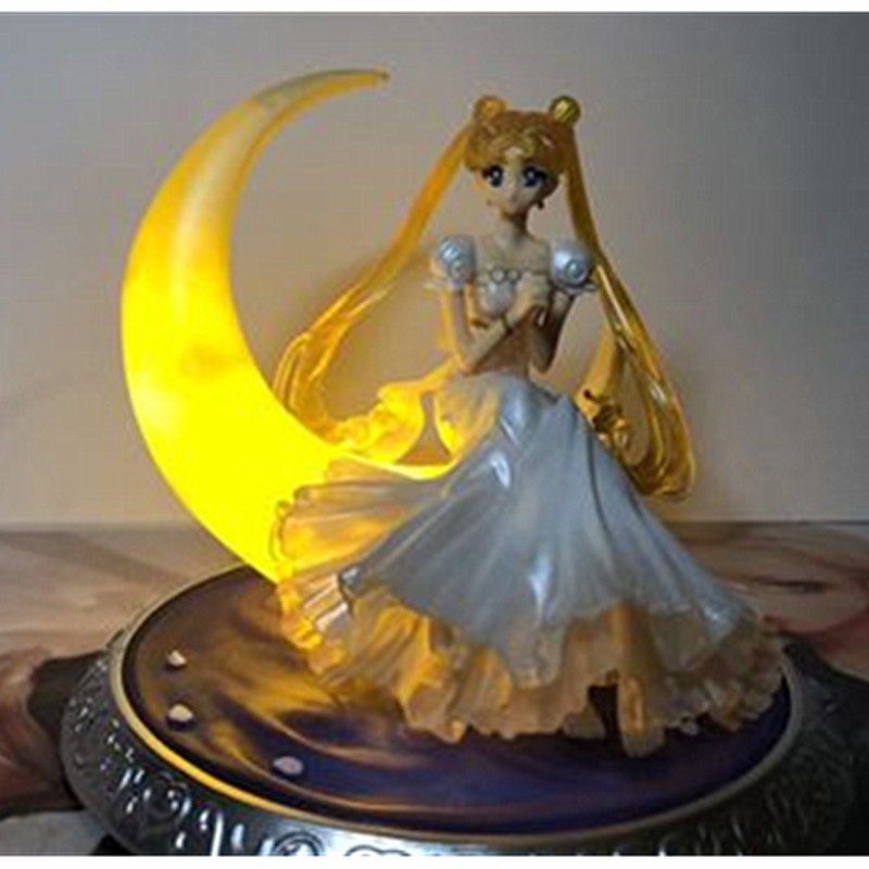 New Anime Super Sailor Moon Princess PVC Birthday Gift USB Desk Lamp Decoration Collection Model Toy Doll Gifts A185