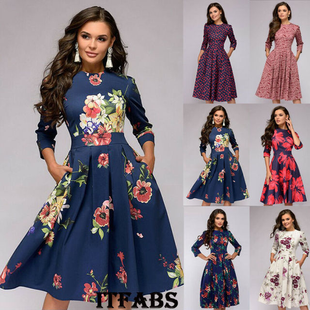 Women Autumn Floral Print Knee-Length A-Line Casual Dress Vintage Boho 2019 Autumn Winter Elegant Long Sleeve Party Dresses
