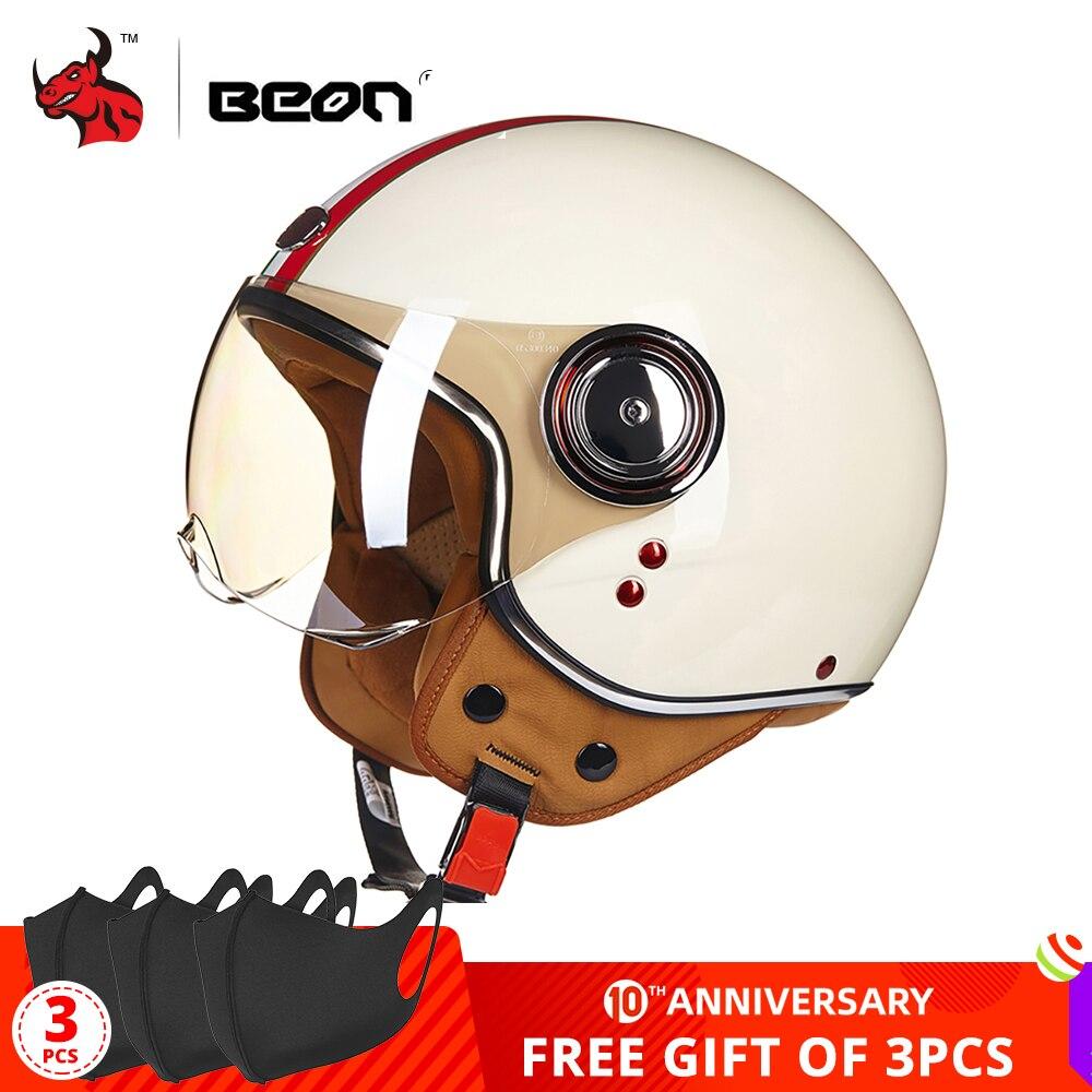 BEON Motorcycle Helmet Chopper 3/4 Open Face Vintage Helmet Moto Casque Casco Capacete Men Women Scooter Motorbike Helmet