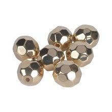 3 4 6 8 10 12mm Gold Farbe CCB Kunststoff Perle Faceted Kugel Lose Spacer Perlen Für Schmuck Machen DIY Armband Halskette Liefert
