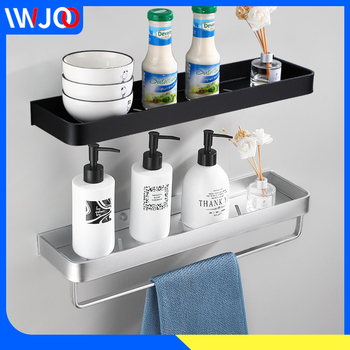 Bathroom Shelf Black Aluminum Bathroom Shelves Shower Caddy Rack Soap Shampoo Holder Wall Mounted Kitchen Storage Rack Towel Bar two layer bathroom rack space aluminum towel washing shower basket bar shelf bathroom accessories shampoo holder 7842