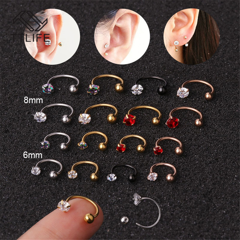 TTLIFE Stainless Steel 6mm/8mm C Shape Nose Ring Cubic Zirconia Tragus Helix Cartilage Conch Rook Lobe 20G Ear Piercing Jewelry