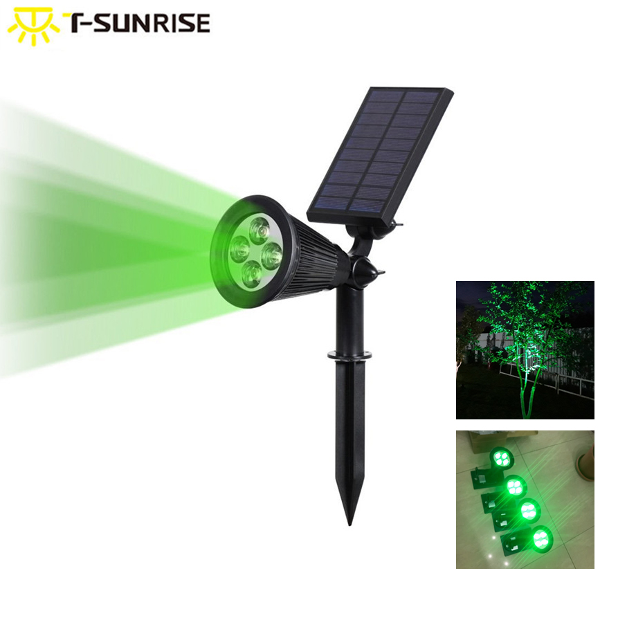 T-SUNRISE  Outdoor Solar Light Angle Adjustable 4 LED Lighting Waterproof Garden Light For Yard Path Green Color