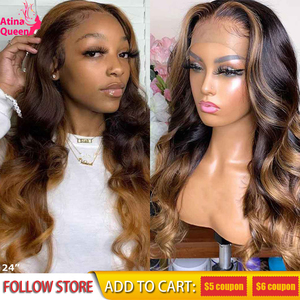 Full Lace Human Hair Wigs Honey Blonde Highlight Wigs 360 Frontal Long Body Wave Remy Ombre Brown Deep Part 13x6 Lace Front Wig(China)