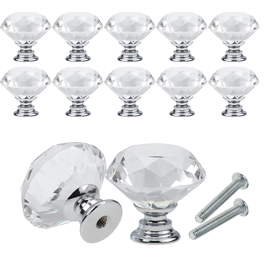10Pcs/set 30mm Diamond Shape Design Crystal Glass Knobs Cupboard Drawer Pull Kitchen Cabinet Door Wardrobe Handles Hardware