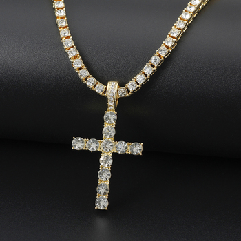 Iced Out Ankh Cross Pendant Necklace Choker Chain Necklace Women Hip-Hop Jewelry For Men Tennis Chain Fashion Link Gift 1