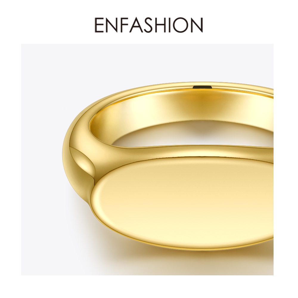 ENFASHION Personalized Engraved Name Flat Rings For Women Punk Gold Color Party Ring Stainless Steel Fashion Jewelry R204040