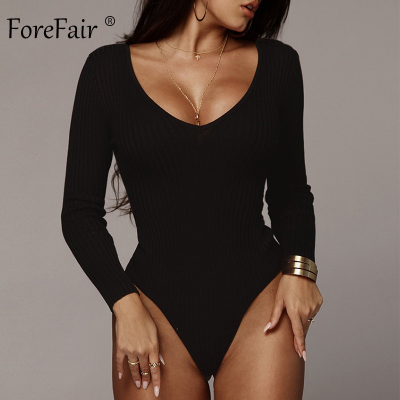 Forefair Long Sleeve Ribbed Knit Sexy Bodysuit Women Autumn Fashion V Neck Solid Skinny Green Black White Winter Body Tops