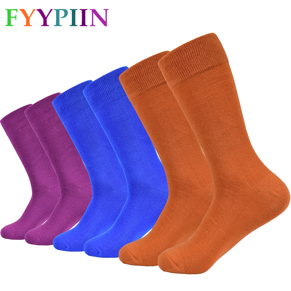 Happy Socks, Solid Color Combed Cotton Socks, Long Fashion Casual Socks, Men