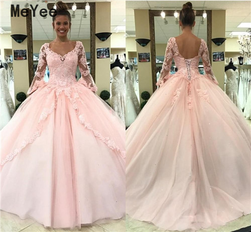 Pink Ball Gown Quinceanera Dresses 2020 Scoop Long Sleeves Open Back Lace Appliques Prom Party Gowns Sweet 16 Birthday Dress Buy At The Price Of 117 89 In Aliexpress Com Imall Com