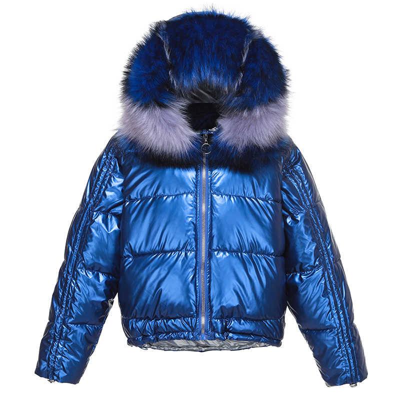 Winter Korte Jas Vrouwen Grote Faux Bontkraag Heldere Side Hooded Katoen Gevoerde Overjas Losse Straat Brood Bovenkleding