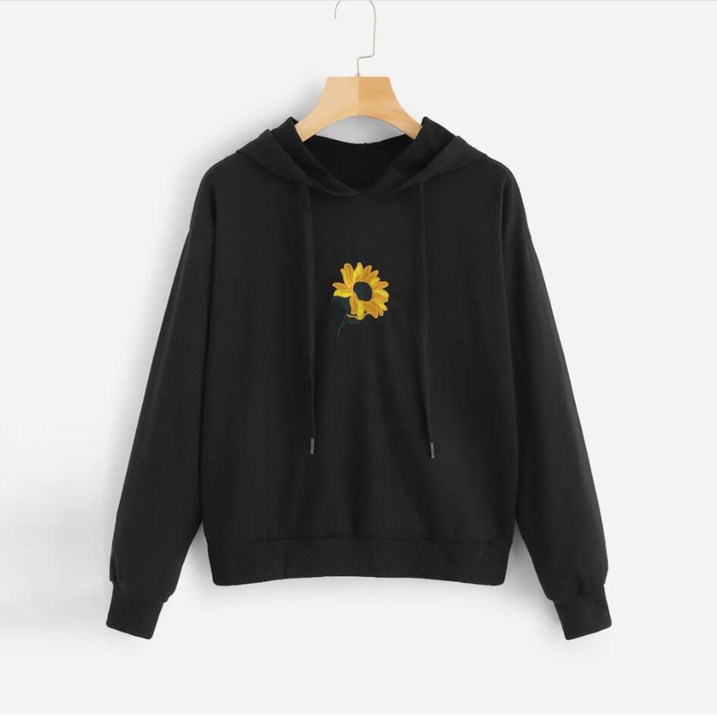 Sweatshirt Sunflower Hoodies Women Autumn Long Sleeve cute Print Hoodie Pullover Casual Tops harajuku streetwear sudadera mujer