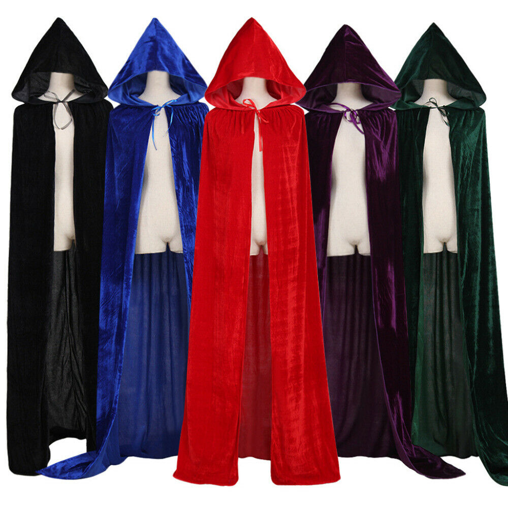 NEW 2020 Women Men Gothic Hooded Vampire Cape Cloak Halloween Costume Fancy Dress Black Red Dark Green Purple Grim Reaper Party