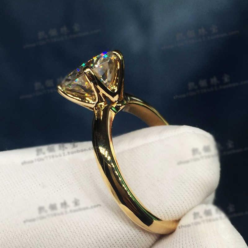 トップ品質シルバー 925 18 18krgp スタンプリアルイエロー 18 18k ゴールド指輪ソリティア 8 ミリメートル 2.0ct ラボダイヤモンドの結婚指輪