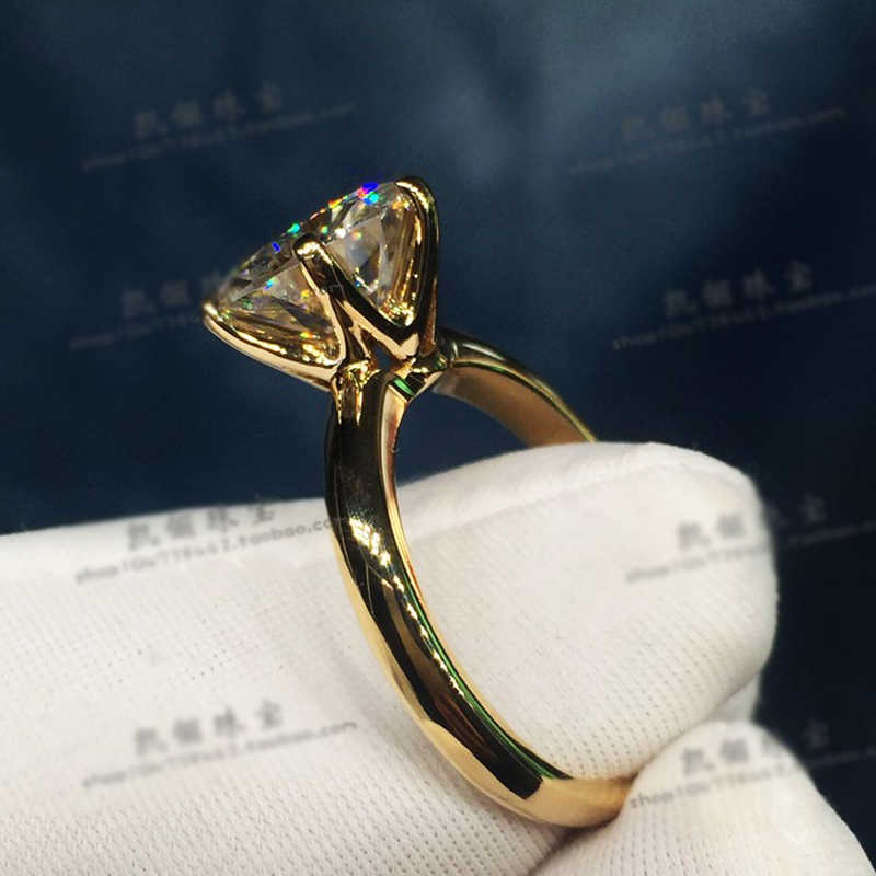 YANHUI יש 18K RGP לוגו טהור מוצק צהוב זהב טבעת יוקרה עגול סוליטייר 8mm 2.0ct המעבדה יהלומי חתונה טבעות לנשים ZSR169