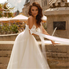 Moda saten düğün elbisesi 2020 Boho sevgiliye kolsuz A Line Lace up prenses Vestido de novia Swanskirt F320 gelin kıyafeti