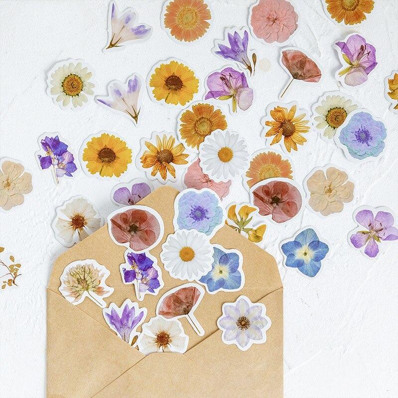 46Pcs Kawaii Stationery Stickers Cute Flower Stickers Cartoon Sticker For Kids DIY Decor Scrapbooking Diary Albums Supplies