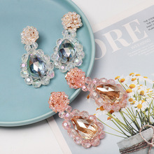 New Flower Earrings Fashion Trend water drop accessories Earrings national style rice Bead Earrings pair of stylish faux gem bead water drop earrings for women