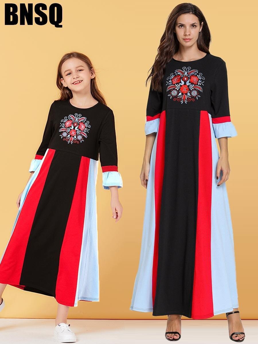 Muslim Embroidery Maxi Dress Girls Abaya Hijab Children's Wear Family Matching Outfits Kimono Long Robes Eid Ramadan Islamic