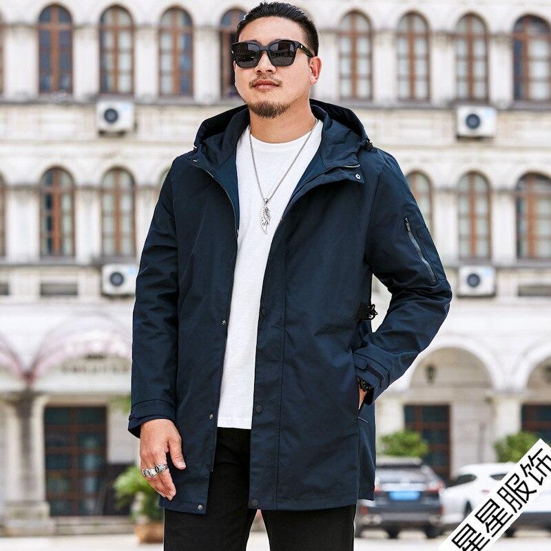 Большие размеры 8XL 6XL 5XL 4XL брендовые толстовки Тренч Мужская ветровка мужская одежда s длинное пальто черный Тренч куртка для мужчин - 6