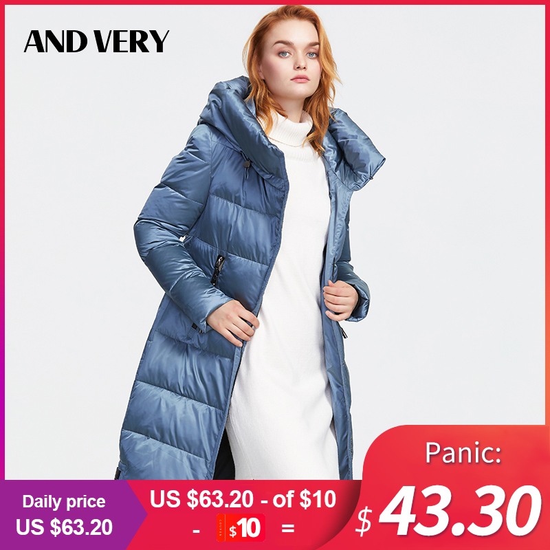 ANDVERY 2019Winter new collection women down jacket thick cotton blue hooded warm   parkas   new fashion style long coat women 9853
