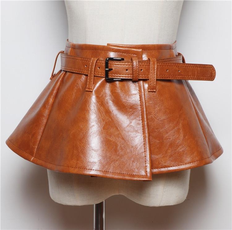 CETIRI Sexy Women Corset Belts Pu Leather Ruffle Dress Peplum Waistband Wide Belt Cummerbunds Female Skirt Strap Girdle