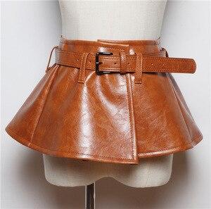 Image 4 - Женский ремень с баской CETIRI, черный пояс из искусственной кожи с бантом, широкий пояс для платья