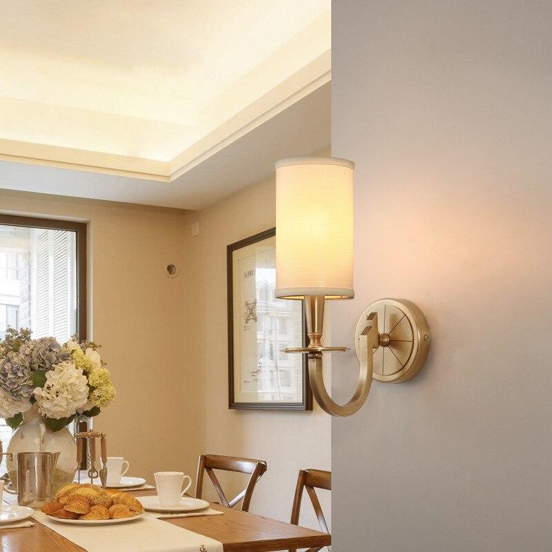 Işıklar ve Aydınlatma'ten Duvar Lambaları'de Duvar lambası tüm bakır sözleşmeli oturma odası kumaş sanat saf sanal duvar lambası yatak odası yatak başı bir yatak  602 title=
