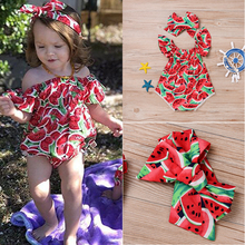 Baby Girl Romper Newborn Girl's Clothes Cute Watermelon Print Short Sleeve Round Collar Leotard Bow Head Outfits Clothes Summer