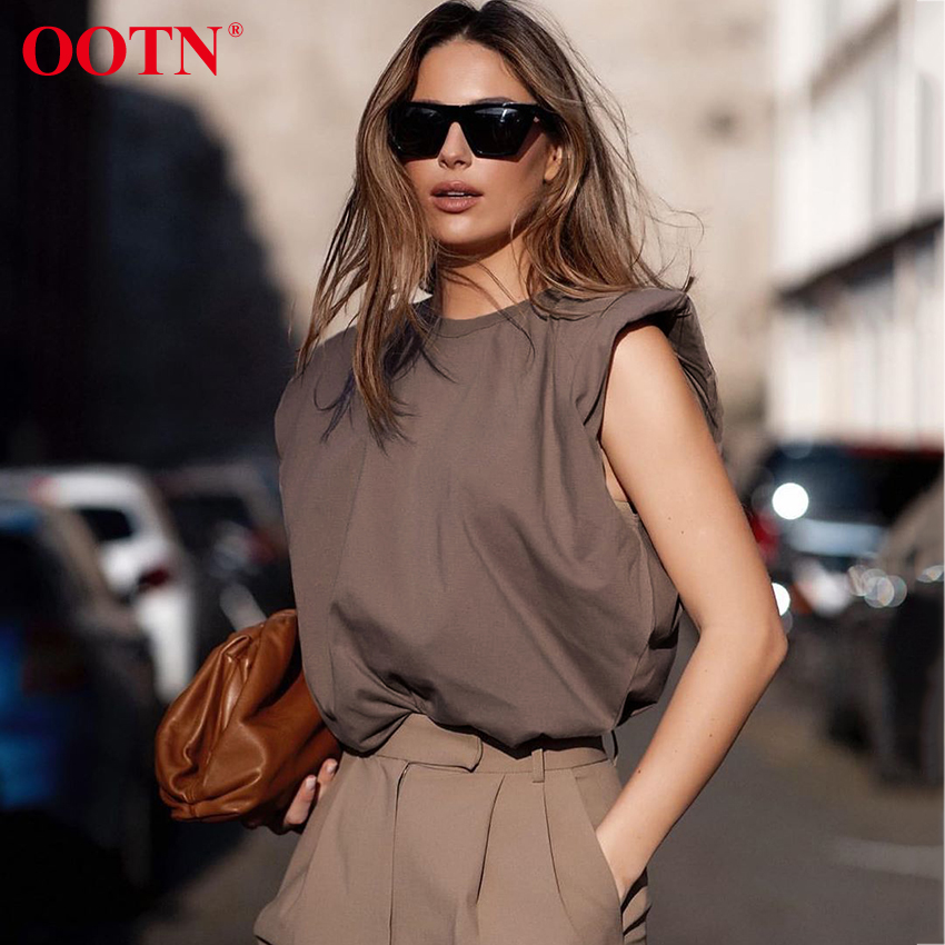 OOTN Summer Sleeveless Top Female O Neck White Women Blouse Shirt Ladies Loose solid Chic Casual Blouses Black 2020 Cotton Brown(China)