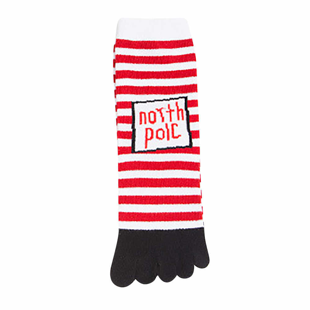 Jaycosin noel Unisex baskı renkli ayak çorap beş parmak çorap pamuk rahat komik çoraplar noel baskı gökkuşağı çorap