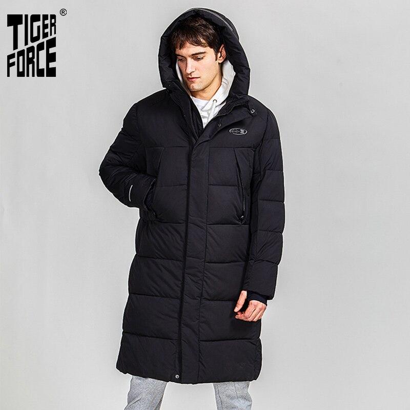 Мужская длинная куртка с капюшоном Tiger Force, черная длинная парка с большими карманами, верхняя одежда, зима 2019|Парки|   | АлиЭкспресс
