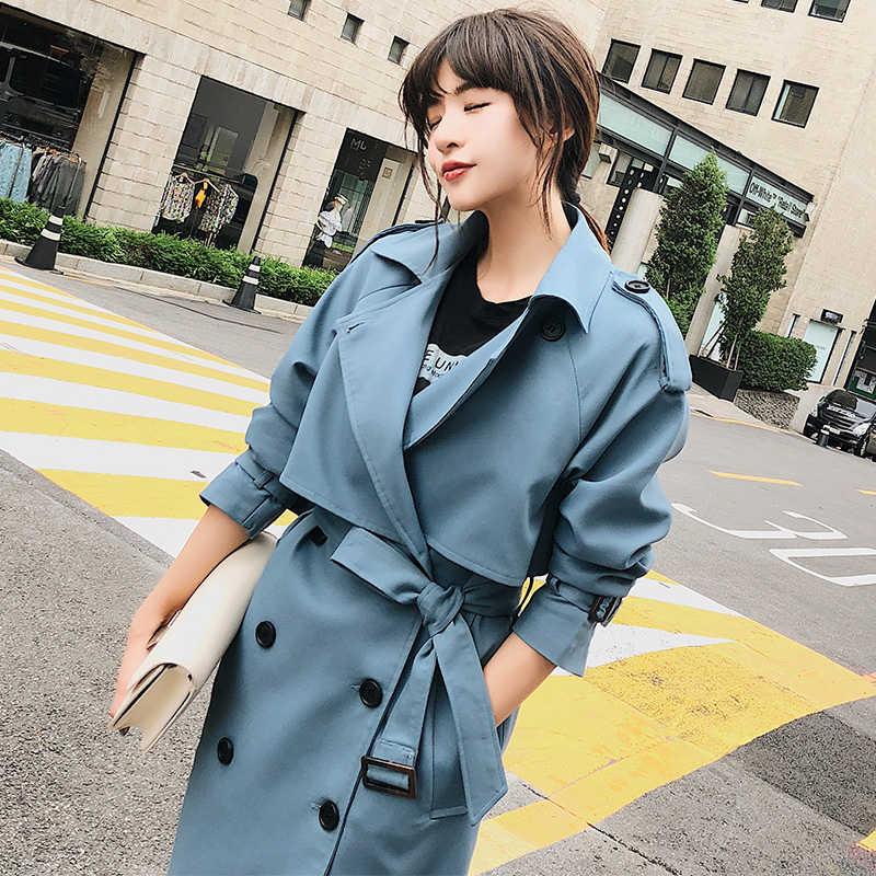 Fitaylor جديد 2020 مزدوجة الصدر منتصف طويلة خندق معطف المرأة عادية حزام تنحيف عباءة خمر سترة واقية أبلى