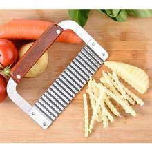 Coupe-pommes de terre en acier inoxydable, salade légumes froissé ondulé hachoir à frites outil de coupe de cuisine