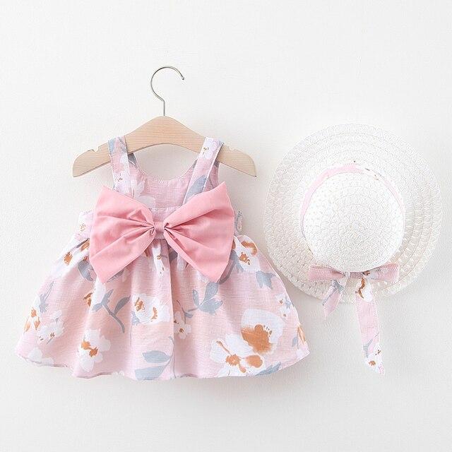 Dziewczynka sukienka 2020 lato z kokardą, z nadrukiem sukienka z kapelusz 2 sztuka ubrania dla dzieci garnitury stylu boho noworodek niemowlę maluch sukienka