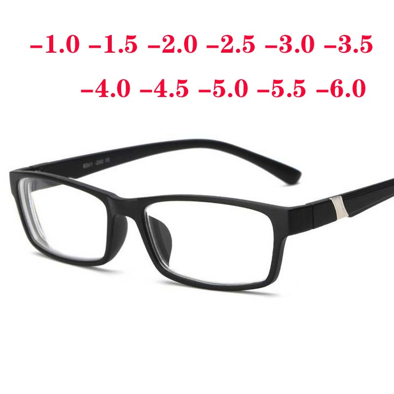 -1 -1.5 -2 -2.5 -3 -3.5 -4 -4.5 -5 -5.5 -6.0 Plastic Frame Resin Lens Finished Myopia Glasses Men Women Shortsighted Eyeglasses