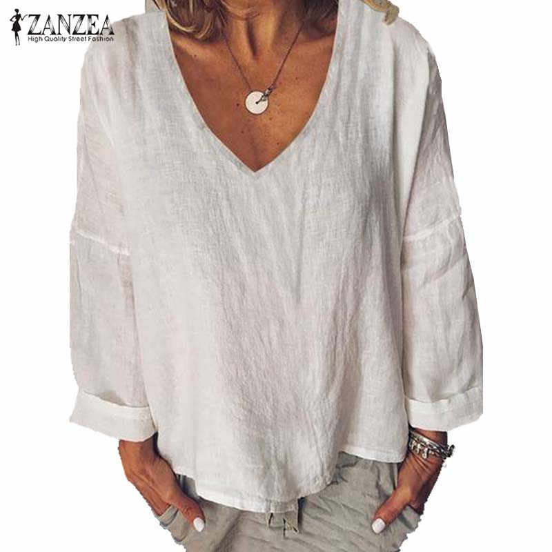 2019 ZANZEA однотонные Топы элегантная женская Повседневная блузка рубашки с длинными рукавами плюс размер туника женская с v-образным вырезом Blusas Женские базовые Топы