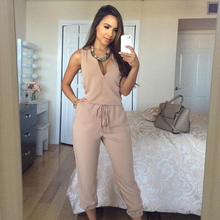 New 2019 Women Summer Sexy V Neck Jumpsuit Long Pants Solid Rompers Women's Sleeveless One Piece