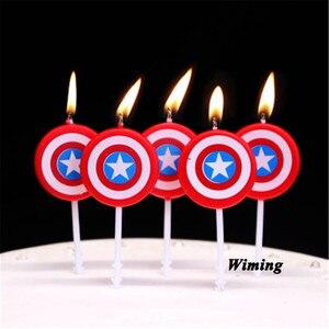 Капитан Америка щит свечи для тортов украшения поставки ребенка 1 день рождения украшение свечей день рождения Супер герои