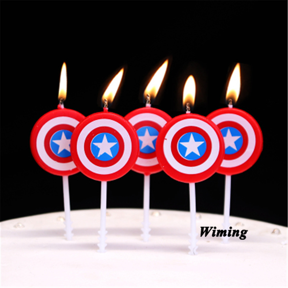 Awe Inspiring Captain America Shield Candles For Cakes Decorating Supplies Baby Funny Birthday Cards Online Alyptdamsfinfo