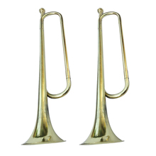 MagiDeal 2pcs Metal Trumpet Cavalry Bugle Brass for School Band Student