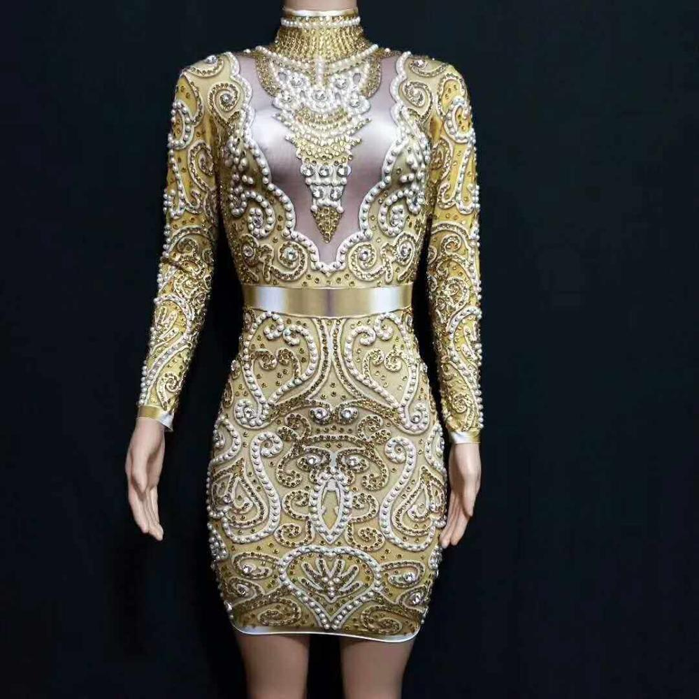 New boutique fashion ice silk Round collar long sleeve Sexy dress Golden silvery Stage costume Evening party Bar Nightclub