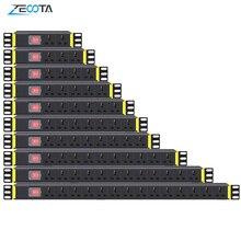 PDU 1U Netzwerk Schrank Rack Power Streifen Verteilung Outlet 1/2/3/4/5/6/7/8/10/12/14 Einheiten Universelle Buchse Brechen Schalter Stecker